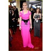 dress,jennifer lawrence,long dress,celebrity style,neon pink dress,evening dress