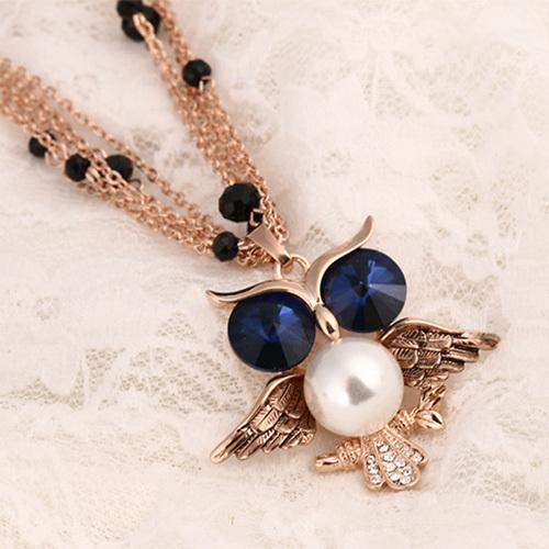[grxjy5100344]fashion rhinestone owl pendant necklace