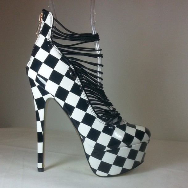 f205cc1ffea6 shoes heels high heels checkered black and white
