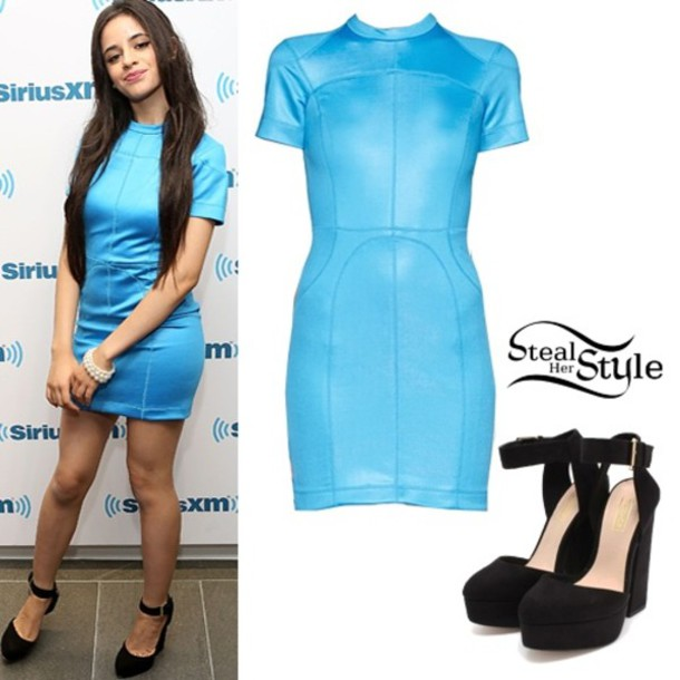 Dress Blue Dress Camila Cabello Fifth Harmony Wheretoget