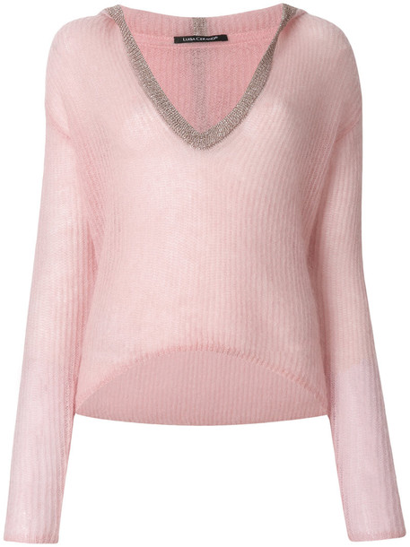 Luisa Cerano top women mohair wool purple pink