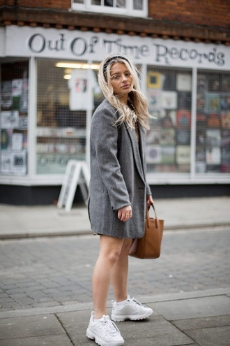 shoes blazer grey blazer bag brown bag hair accessory white sneakers sneakers
