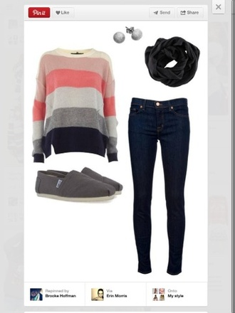 sweater shirt pretty pink cute scarf shoes striped sweater slip on shoes skinny jeans grey blouse warm orange pastel orange jeans toms flats black silver creme cream warrings studs fall outfits stripes