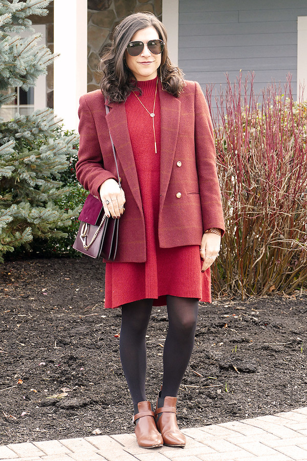 closetfashionista blogger jacket top sweater dress jewels shoes bag sunglasses blazer red dress sweater dress ankle boots fall outfits