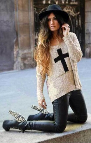 hat sweater jumper cross shoes