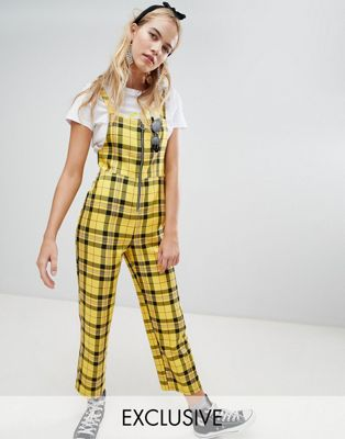 Reclaimed Vintage inspired zip through jumpsuit in yellow check at asos.com