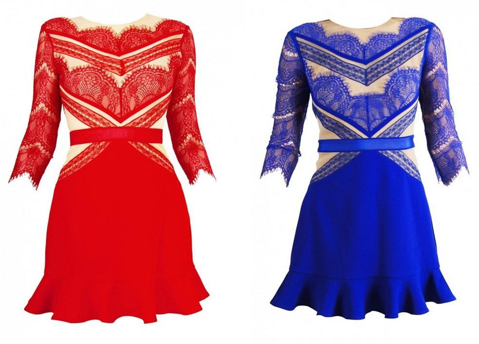 Moda frete grátis tons de vermelho laço emenda not u3364 vestido