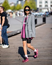 blazer,grey blazer,sneakers,socks,leggings,sportswear,sunglasses