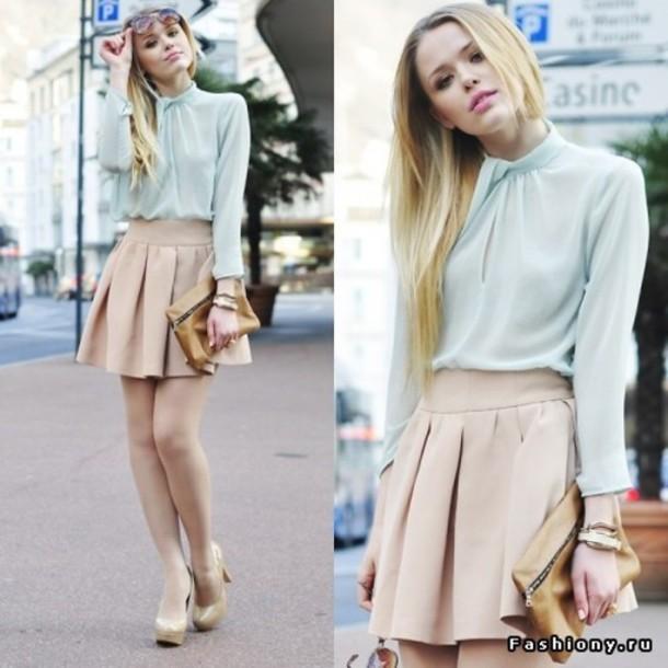 blouse nude shoes skirt blue skirt cream girly beauty beautiful nice tumblr t-shirt