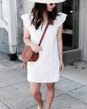 dress,brown bag,tumblr,sleeveless,sleeveless dress,mini dress,white dress,bag,crossbody bag