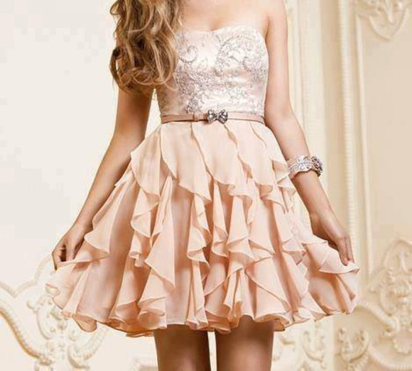 strass paillettes l dress girly sexy bustier volants roses noeud