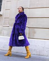 coat,faux fur coat,oversized coat,handbag,high heels boots,knee high boots,mini bag,hoop earrings