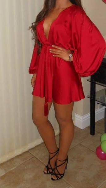 dress red dress red underwear silk satin dress silk dress wrap dress mini dress babydoll dress kimono kimono dress