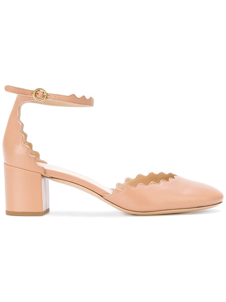 Chloe ankle strap women leather nude shoes