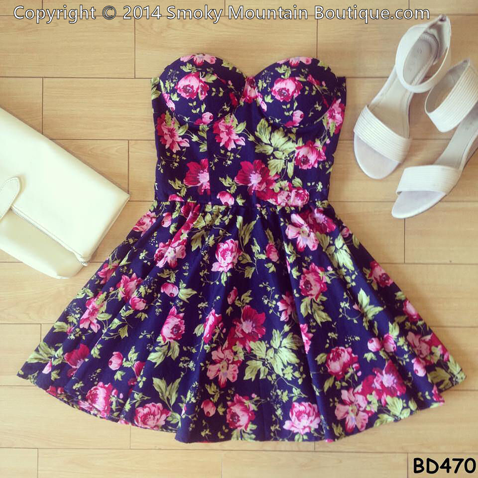 Fatima floral retro bustier dress with adjustable straps