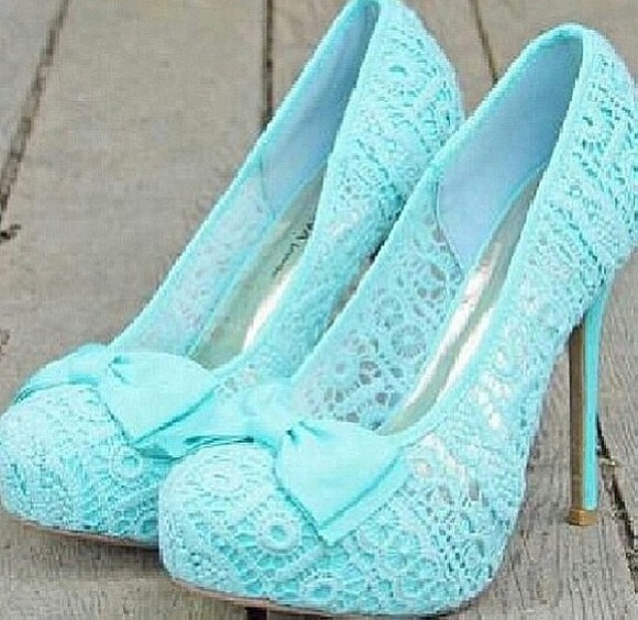 shoes blue shoes blue summer high heels bow babyblue lace