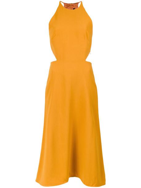 Andrea Marques dress midi dress women midi yellow orange