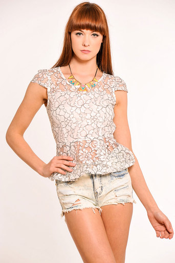 Ariana Lace Peplum Top in White - Pop Couture