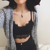 underwear,tank top,top,bralette,black bralette,lace bralette,cardigan,knitwear,stone necklace,high waisted jeans,all star,stylish,style,trendy,fashion inspo,outfit idea,tumblr,tumblr girl,cute,blogger,fashionista,chill,rad,casual,on point clothing,gemstone pendant,black top,grung,black,lace,lace top,black crop top,black sweater,blouse,shorts,sweater,crop tops,grey sweater,grey,lace crop top