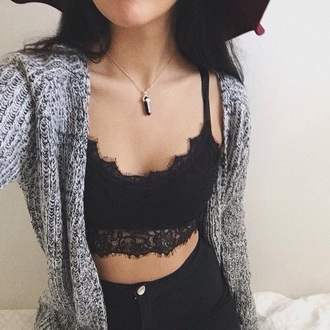 top bralette black bralette lace bralette cardigan knitwear stone necklace high waisted jeans all star stylish style trendy fashion inspo outfit idea tumblr tumblr girl cute blogger fashionista chill rad casual on point clothing gemstone pendant