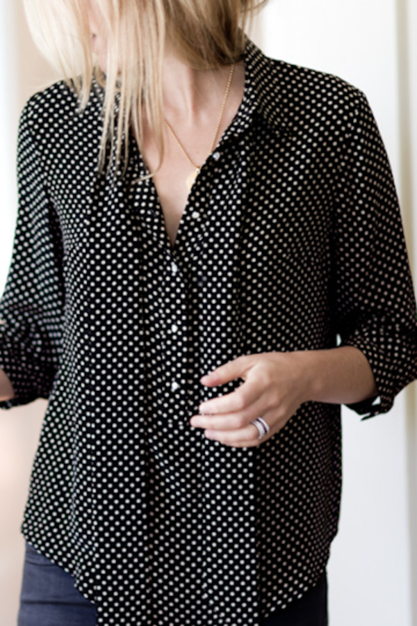 Pied a Terre Silk Polka Dot Tie Neck Blouse Navy - House of Fraser