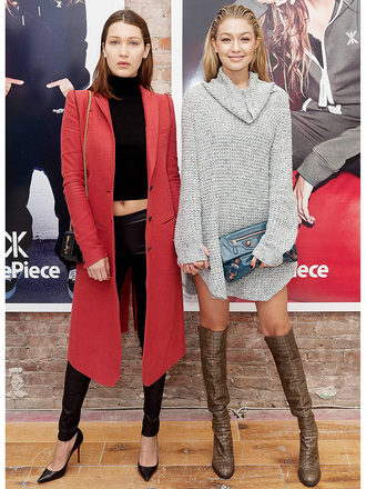 boots over the knee boots brown boots sweater dress balenciaga pumps pointed toe pumps leather pants black leather pants crop tops turtleneck black crop top coat red coat shoulder bag ysl ysl bag celebrity style celebrity gigi hadid bella hadid black pants black heels grey sweater oversized sweater knee high boots clutch hadid sisters bella hadid crop top cardigan high heels black stilettos long red coat hadid style gigi hadid style bella hadid style knitted dress red carpet dress