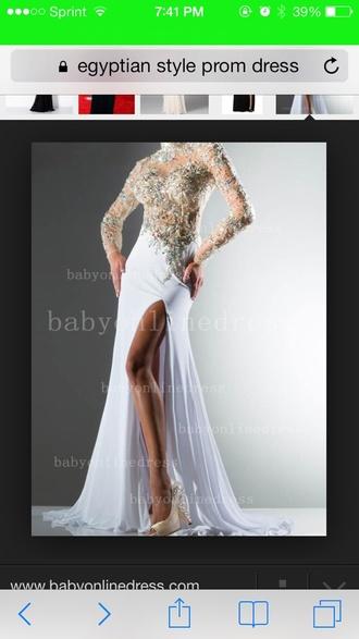 dress prom white silver sparkles rhinestones egyptian style
