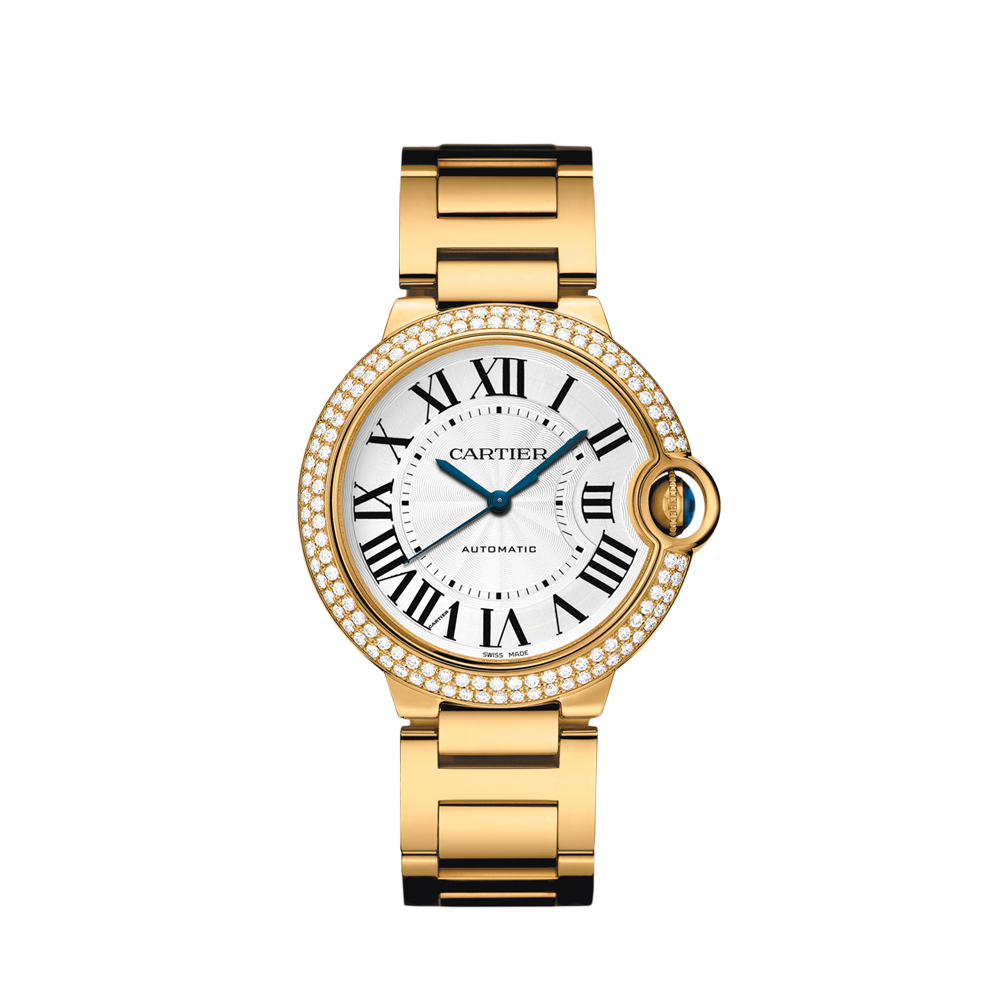 Ballon Bleu de Cartier watch, 36 mm - Automatic, yellow gold, diamonds, sapphire - Fine Timepieces for women -  Cartier