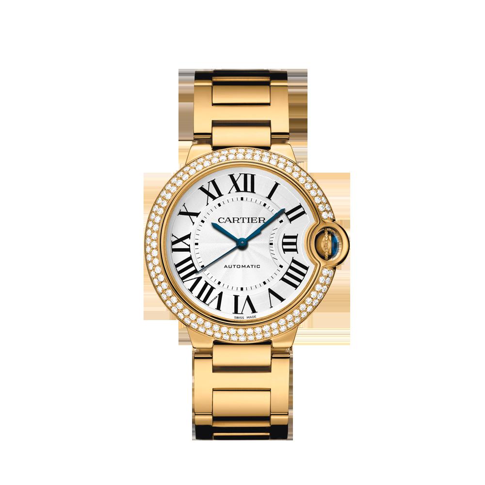 Ballon Bleu de Cartier watch, 36 mm - Automatic, yellow gold, diamonds, sapphire - Fine Timepieces for women -  Cartier