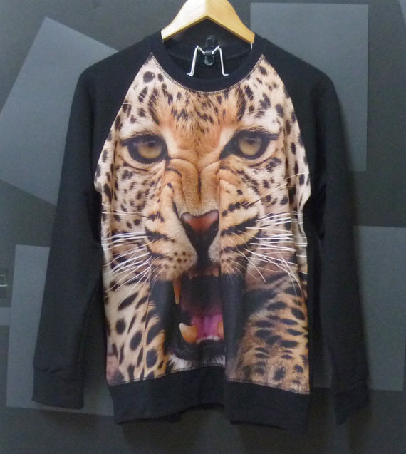 Leopard tiger face animal long sleeve crewneck by cuteclassic