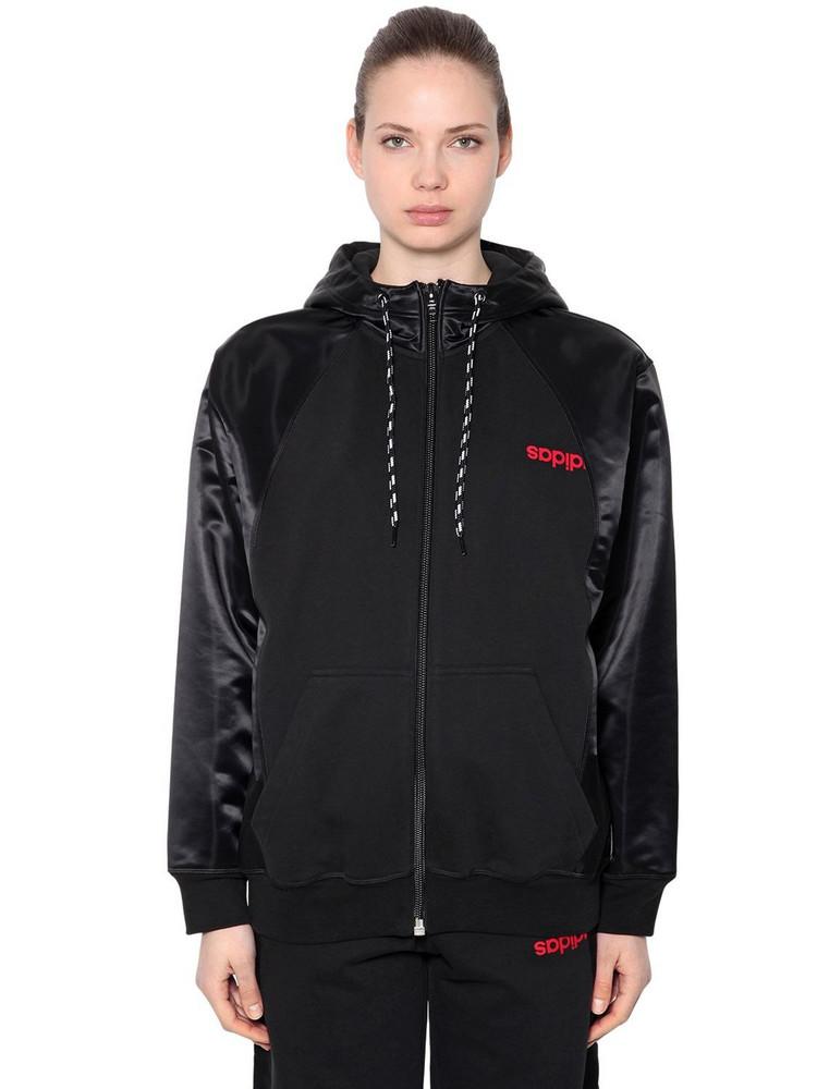 ADIDAS ORIGINALS BY ALEXANDER WANG Zip Up Sweatshirt Hoodie in black