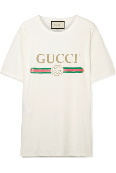 gucci t-shirt shirt t-shirt cotton cream top