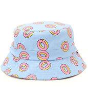 hat,donut,bucket hat,pastel blue,original,odd future,food,baby blue,pink,pastel,printed bucket hat