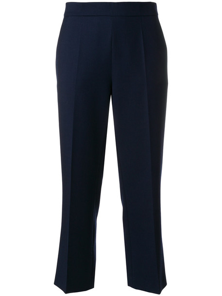 cropped women mohair cotton blue wool pants