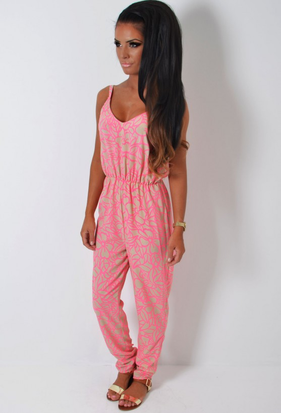 Vivo Neon Pink and Stone Floral Print Jumpsuit | Pink Boutique