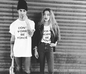 shirt t-shirt white t-shirt black and white don't worry hat jacket high waisted jeans skinny pants accessories accessory don't worry be yonce black white boyfriend beanie black beanie high waisted leather leather jacket street streetstyle urban