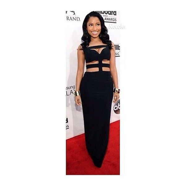 dress nicki minaj black maxi dress cut-out evening dress