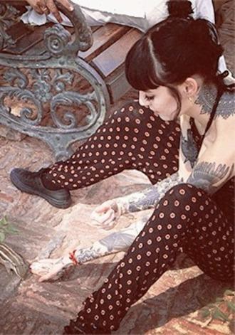 tattoo hannah snowdon printed pants polka dots