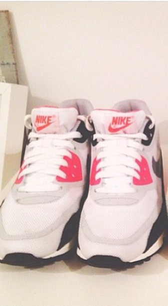 shoes nike white black pink pink shoes