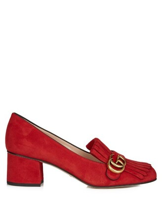 loafers suede red shoes