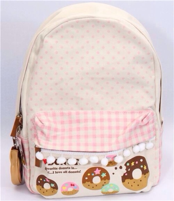 bag cute sweet backpack bookbag kawaii pastel pretty lovely japanese japan adorbs kawaii bag rose donut sac kawaii accessory white donut backpack