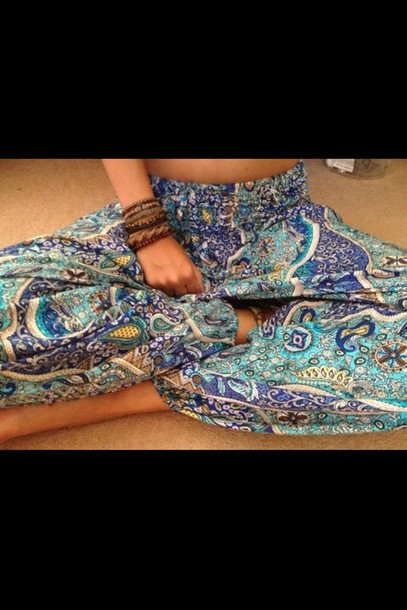 pants blue gypsy pants hippy trousers paisley hippie baggy pants