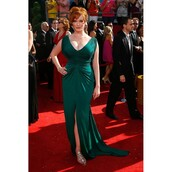 dress,christina hendricks,green dress,emerald green,prom dress,red carpet