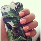 nail polish,phone cover,jewels,tropical,phone,iphone,cover,iphone case,tank top,palm tree print,white,palm tree,green