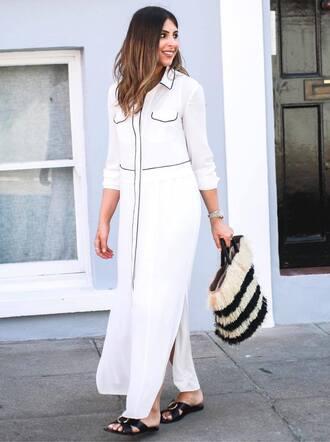 shirt shoes tumblr slit top long shirt white shirt bag handbag slide shoes maxi dress