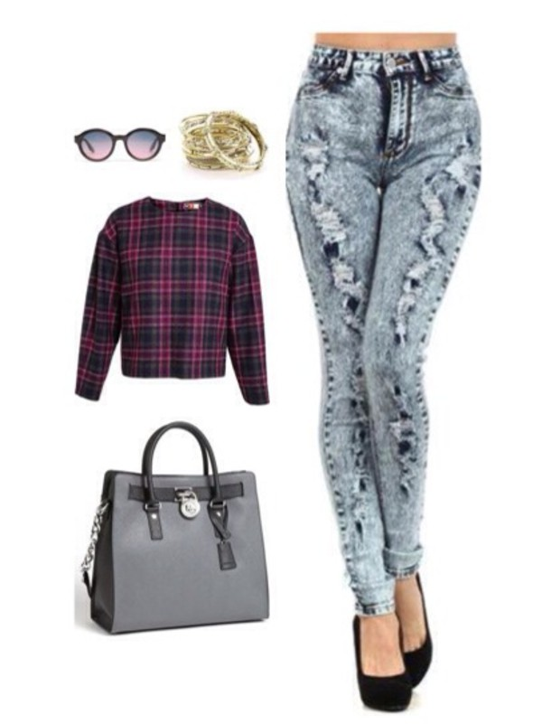 jeans denim fashion killin it ripped jeans hippie bag