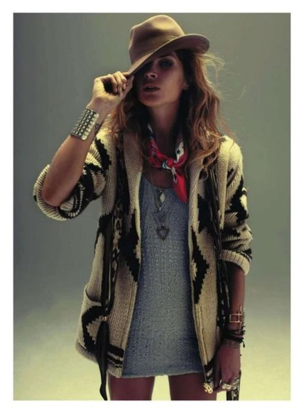 jacket knitwear cardigan print aztec erin wasson chuncky shrug comfort; navajo