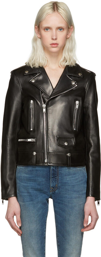 jacket leather black black leather
