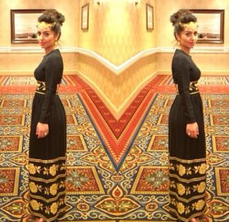 black dress beautiful cute maxi dress gold long sleeve dress outing