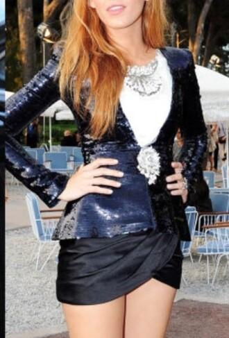 jacket blake lively blazer sequins black skirt mini skirt
